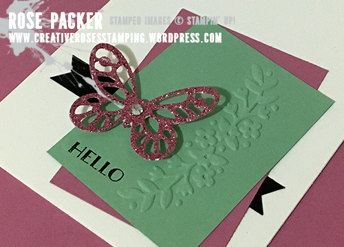 Rose Packer, Creative Roses, Stampin' Up! Bold Butterfly Thinlits, SAB Glimmer paper stack