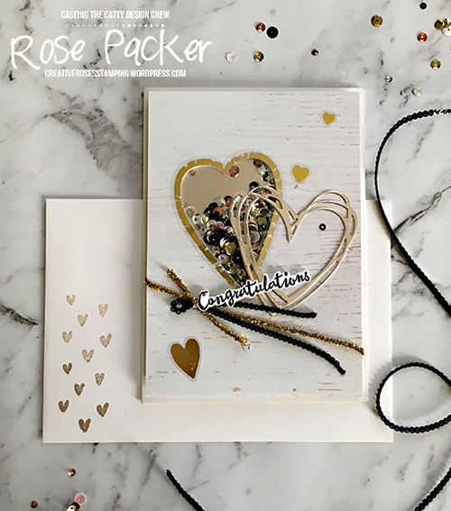 Rose Packer, Creative Roses, Stampin' Up! Painted With Love Gold Vinyl Stickers, Petal Palette, Shaker card