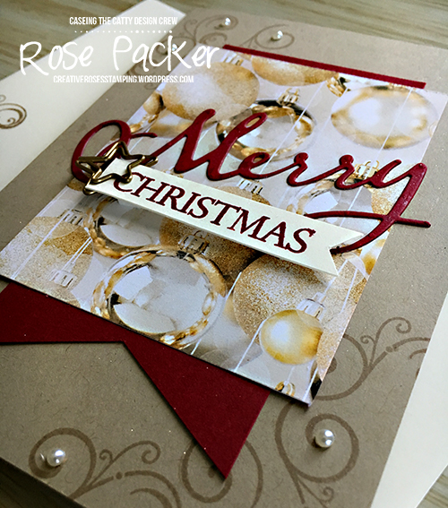 Rose Packer, Creative Roses. Stampin' Up! All is Bright Suite, Merry Christmas thinlits, Merry Christmas to all, Shimmer paint