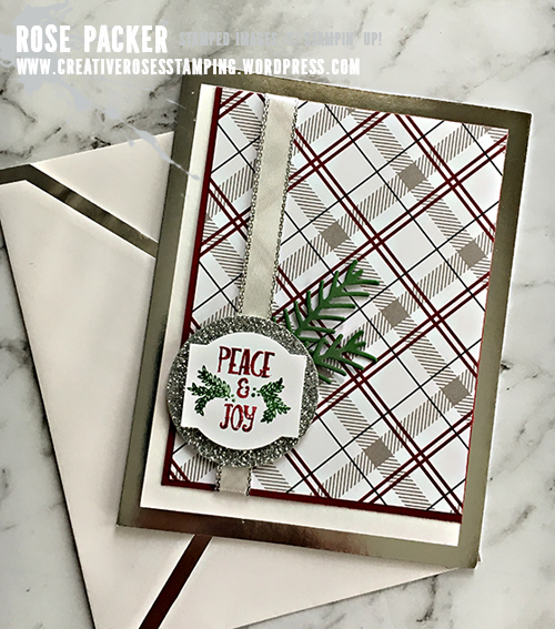 Rose Packer, Creative Roses, Stampin' Up!, Christmas Traditions punch box, Pretty Pines thinlits, Festive Farmhouse DSP