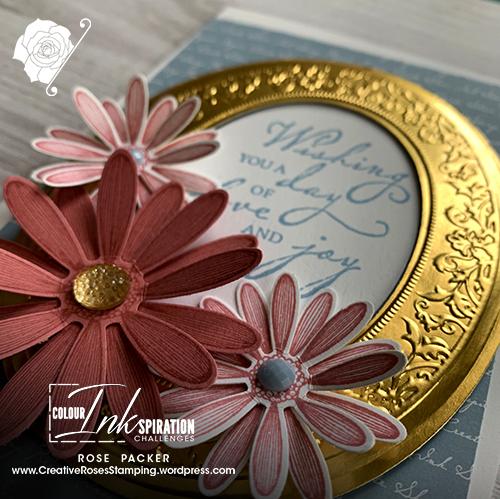Rose Packer, Creative Roses, Stampin' Up!, Woven Heirlooms, Heirloom Frames Embossing folder, Daisy Lane stamp set, Daisy punch