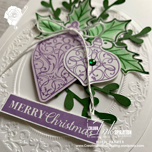 Rose Packer, Creative Roses, Stampin' Up!, Heirloom Frame dies, Heirloom Embossing Folder, Christmas Gleaming bundle, Gleaming ornament punches