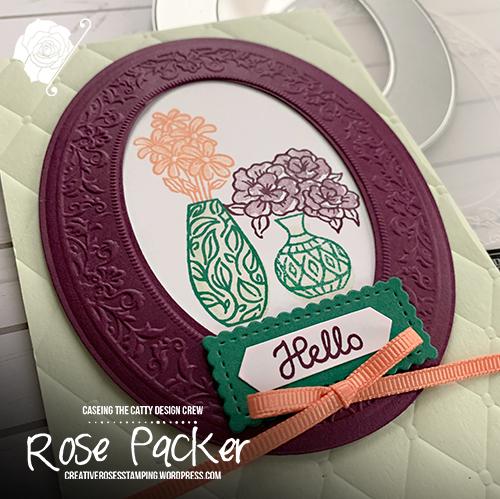 Rose Packer, Creative Roses, Stampin' Up!, Woven Heirlooms bundle, Heirloom Frames & Embossing folder, Varied Vases stamps