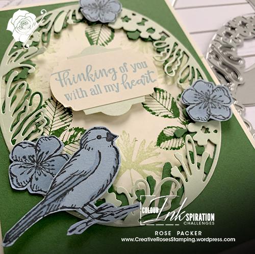 Rose Packer, Creative Roses, Stampin' Up!, Petal Label dies, Heirloom frame dies & Embossing folder, Free as a bird