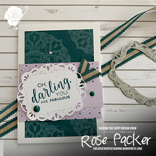 Rose Packer, Creative Roses, Stampin' Up!, Stitched All Round, Stitched label dies, Woven threads, Pretty Peacock, Purple posy